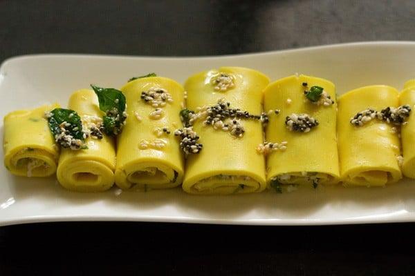 add tempering to khandvi rolls