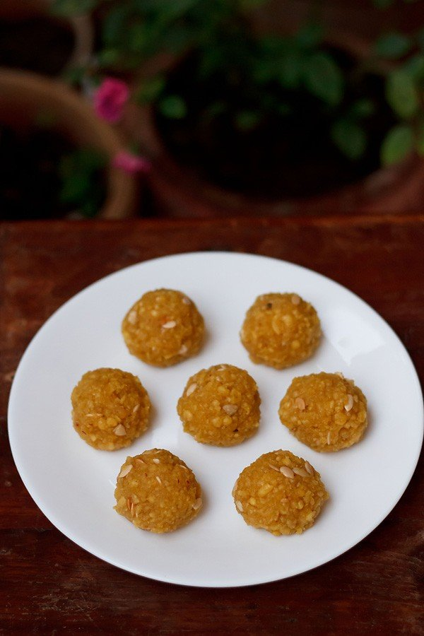 motichoor ladoo on a white plate