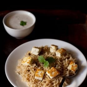 paneer pulao recipe, paneer rice