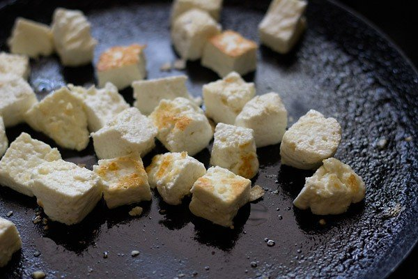 pan fried paneer cubes for pulao recipe