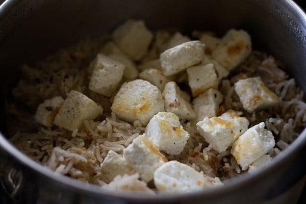 paneer pulao recipe, paneer rice recipe
