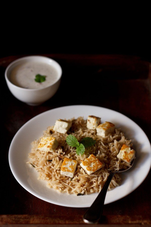 paneer pulao recipe, cottage cheese pulao recipe
