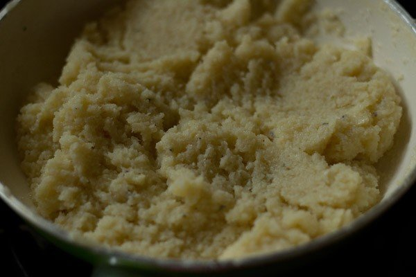 cook the coconut barfi mixture