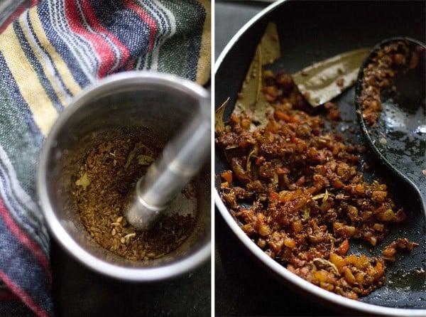 roast spices to make dum aloo recipe