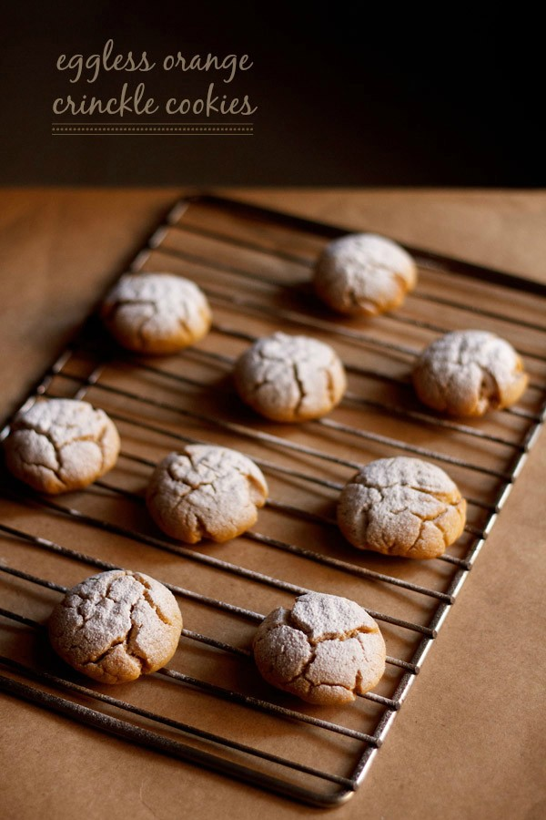 eggless orange crinkle cookies recipe | orange cookies recipe