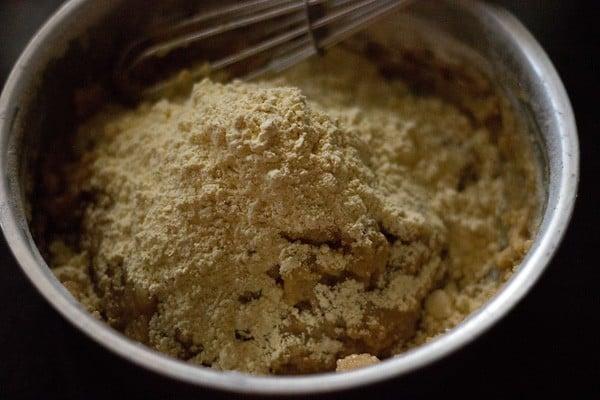add besan to orange cookies mixture