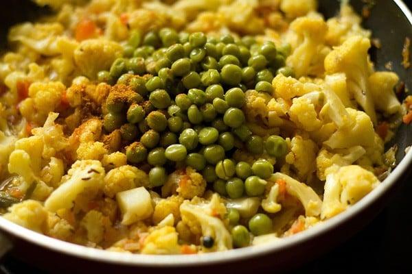 add matar or peas for gobi matar recipe