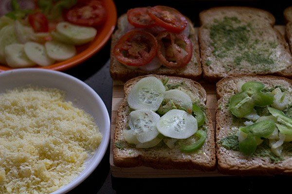 veggies for making cheese toast sandwich recipe