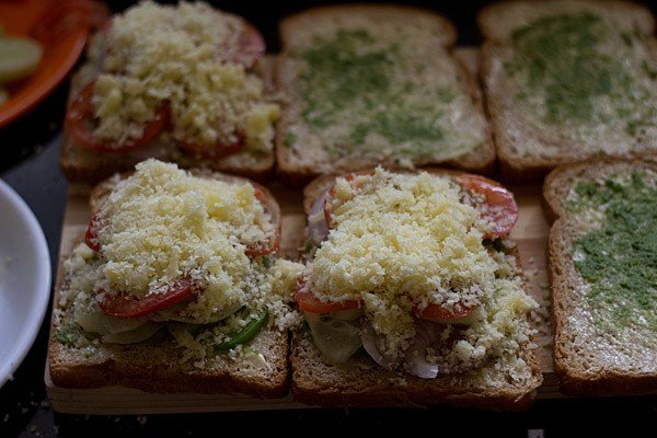 making veg cheese toast sandwich recipe