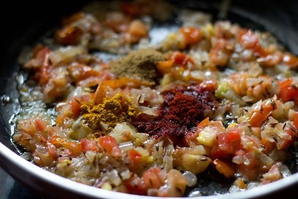 add spices - making bandh gobhi matar recipe
