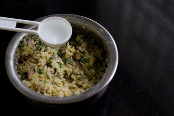 add water to rice pakora batter