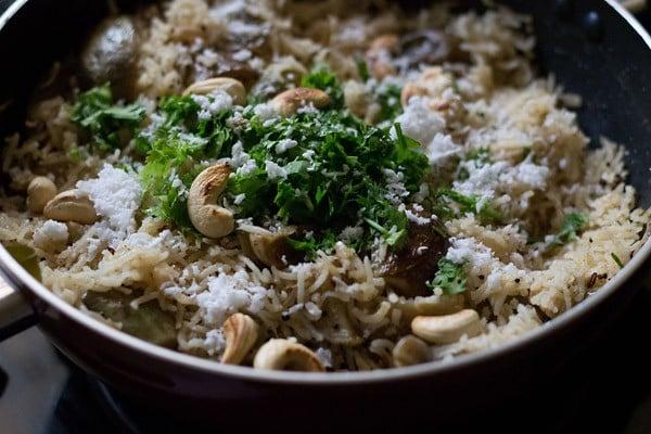 add coconut to maharashtrian vangi bhaat recipe