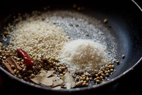 roast coconut to make vangi bhaat