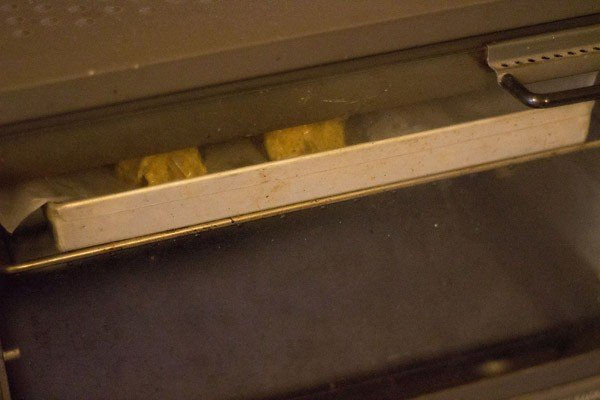 baking achari paneer tikka in an oven