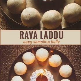 collage of rava laddu recipe