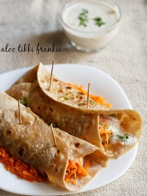frankie recipe, how to make frankie | veg frankie recipe with aloo tikki