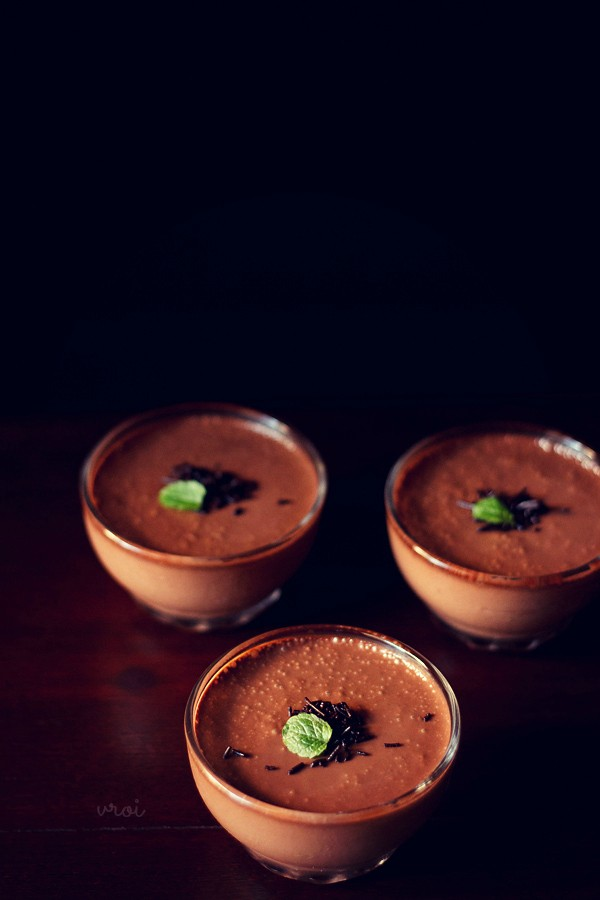 eggless banana chocolate mousse recipe, quick mousse recipe