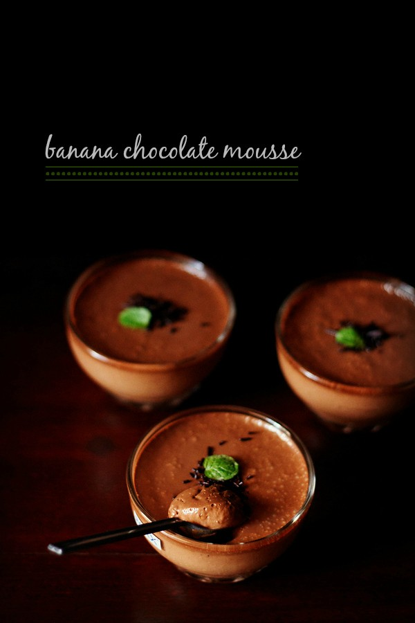 eggless banana chocolate mousse recipe | quick mousse recipe