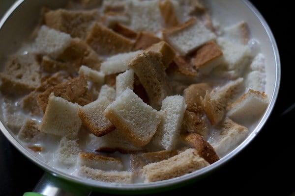 add bread slices to make pudding