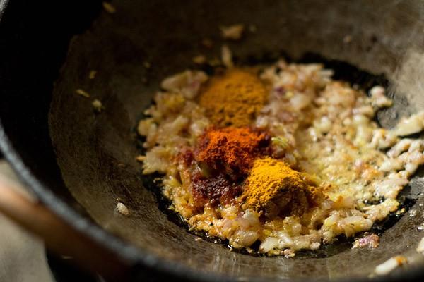 add spices - making kadai chole recipe
