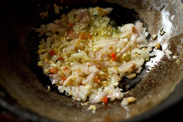 saute onions to make manchow soup