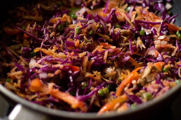 stir fry vegetables to make chowmein noodles