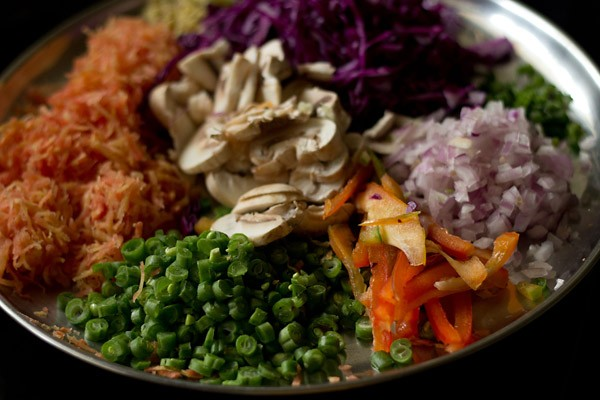 chopped veggies for veg chowmein noodles