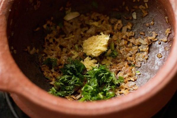 adding ginger-garlic paste for veg handi recipe