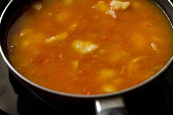 add water to make aloo rasedar recipe