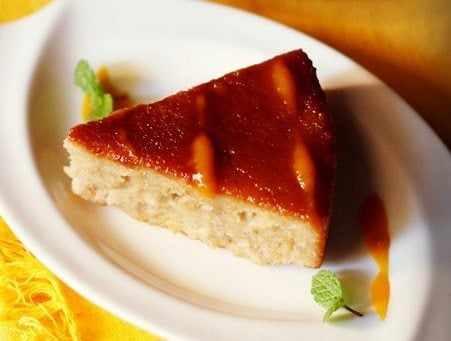 eggless caramel bread pudding recipe