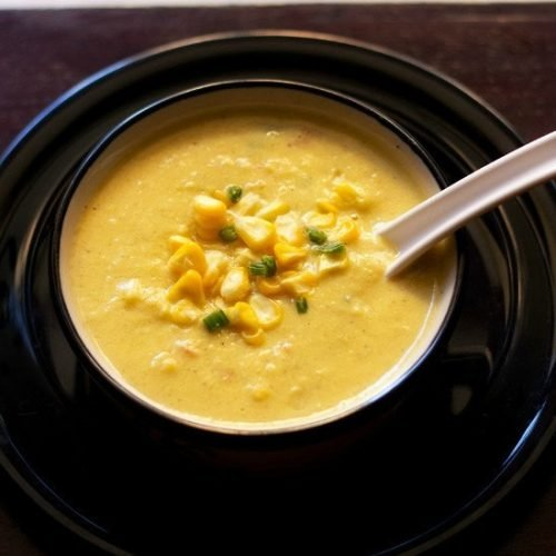 creamy corn vegetable soup recipe, sweet corn soup recipe with veggies