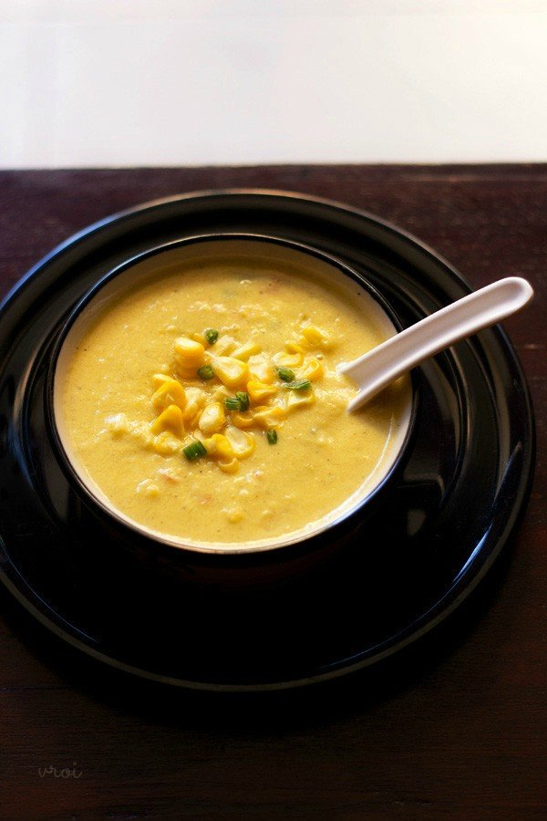 creamy corn veg soup recipe