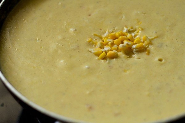add corn kernels to creamy corn vegetable soup recipe
