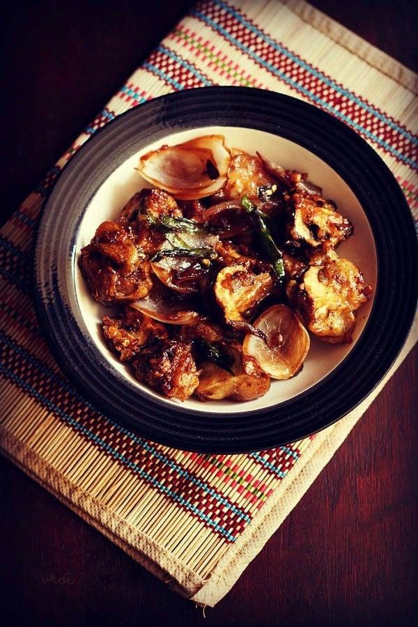 chilli mushroom dry recipe, mushroom chilli recipe, chilli mushroom recipe