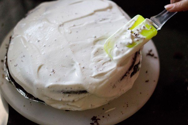 cream on eggless black forest cake recipe