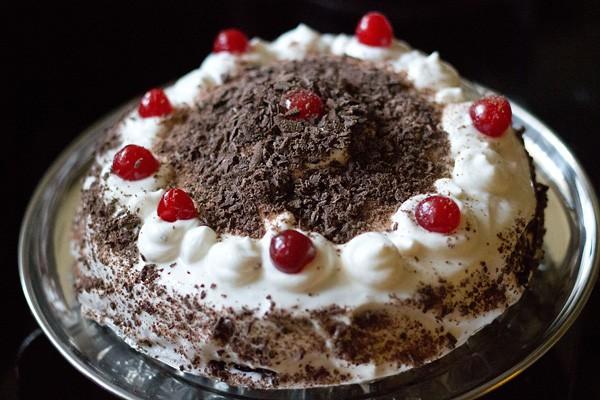 preparing eggless black forest cake recipe