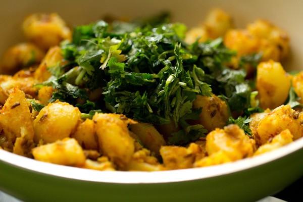 coriander for hing jeera aloo recipe