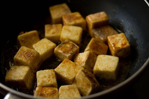 pan frying paneer for manchurian recipe