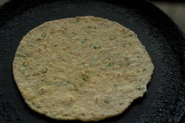frying - making veg paratha recipe