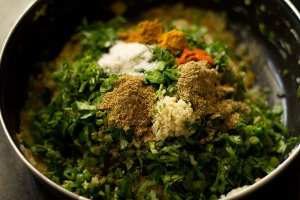 mashed veggie mixture and spices in a bowl