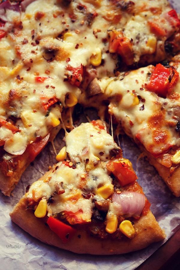 atta pizza recipe, whole wheat veg pizza recipe