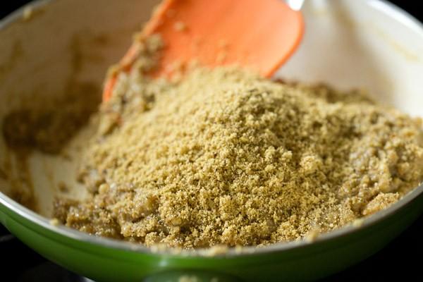 adding grinded badam to make barfi recipe