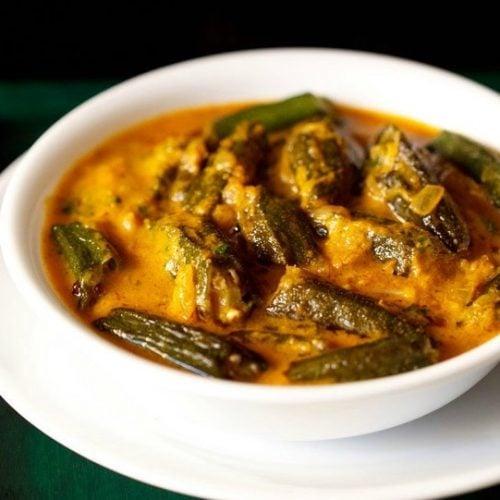 bhindi masala gravy recipe, masala bhindi gravy recipe, ladies finger curry recipe