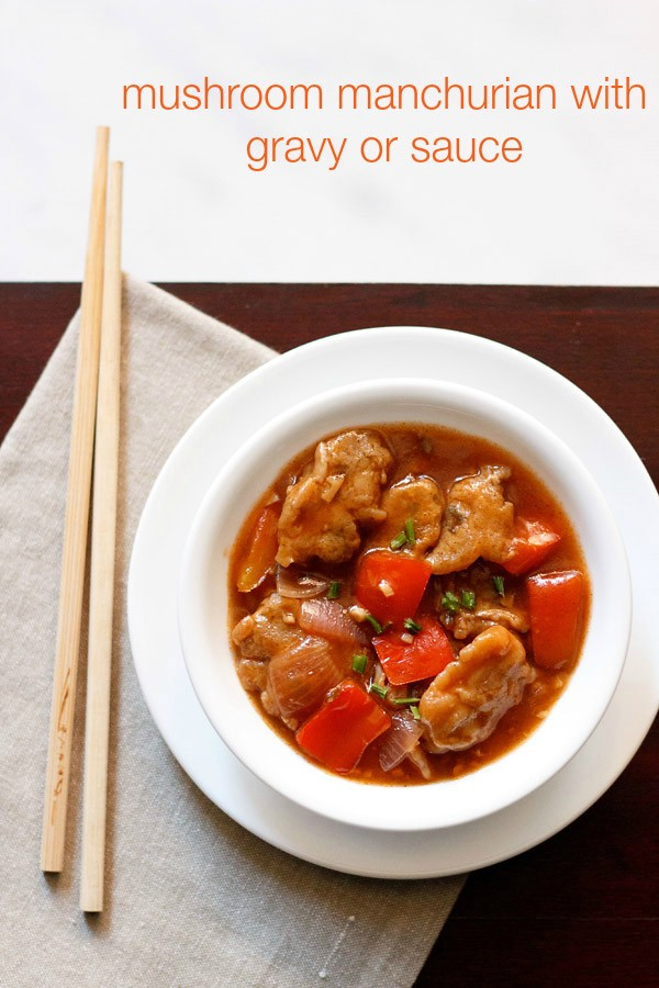 mushroom manchurian recipe | mushroom manchurian gravy recipe