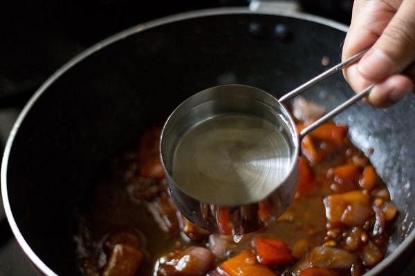 water for mushroom manchurian gravy recipe