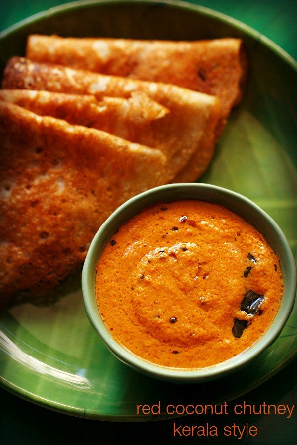 red coconut chutney recipe, kerala style coconut chutney for idli, dosa