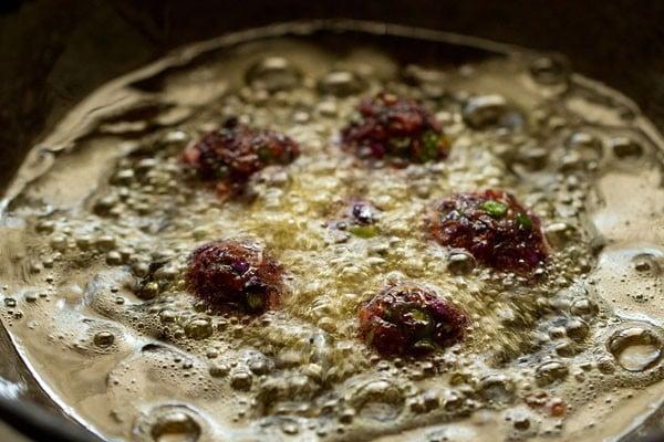 frying veg manchurian balls