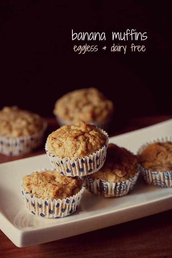 eggless banana muffins recipe | whole wheat banana muffins recipe