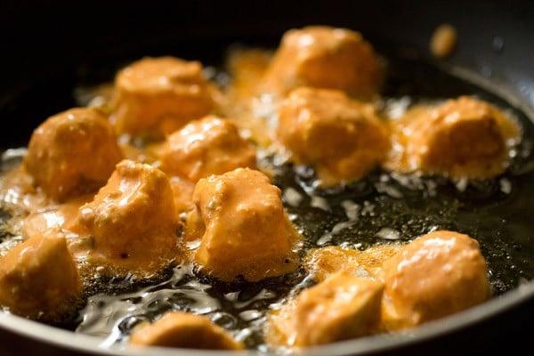 frying paneer for paneer 65 recipe