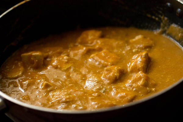 paneer mixed with the gravy